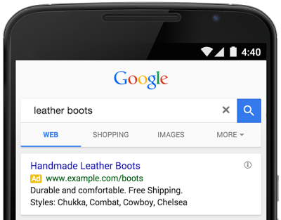 google adwords structured snippets exemple