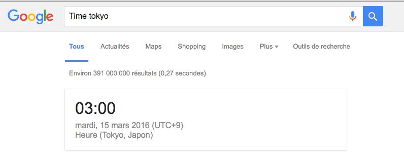 google recherche heure
