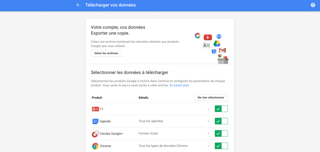 telecharger ses donnees google