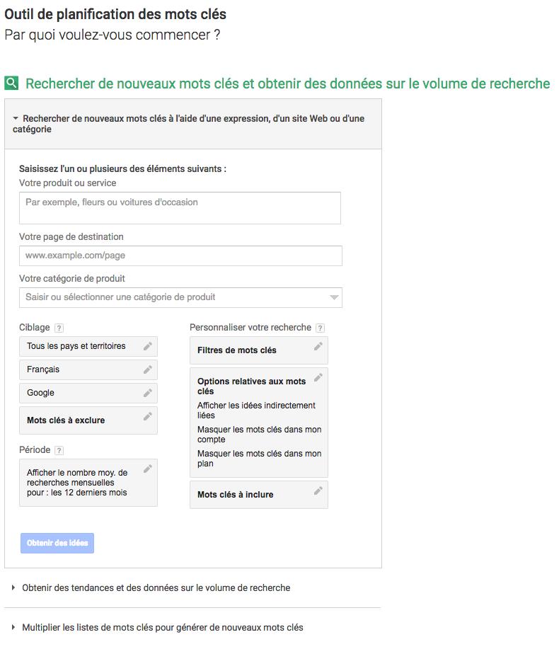 Outil de planification des mots clés intégré à Google Adwords
