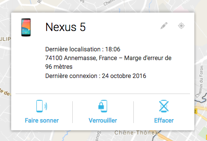 device manager faire sonner son telephone